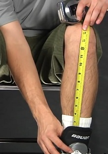 measuring hockey shin pads